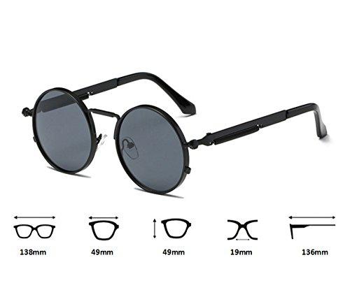 non soleil hippie de polarisé métal rétro Or en lunettes Hellomiko Or cadre cadre rond Métal Foncé rond nqTtIv