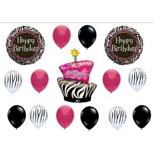 Zebra Stripe Cake Birthday Party Balloons Decorations Supplies Animal Print