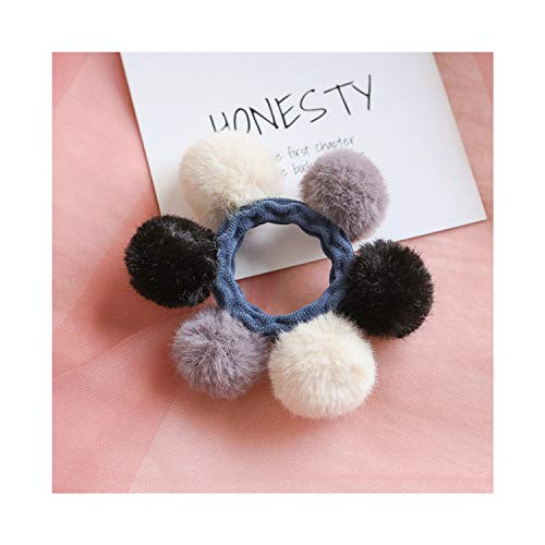 (Woman Pompom Hair Ties Girls Elastic Hair Band Rubber Band Gum Rope Cute Scrunchies,Color)