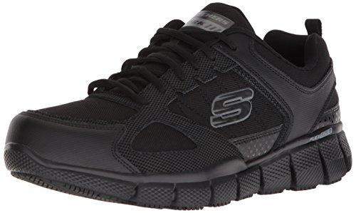 Skechers Work Men's Telfin-Sanphet Industrial Shoe, Black Leather Courdura, 8.5 M US by Skechers