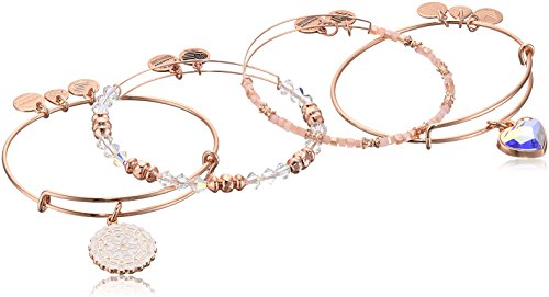Alex and Ani Paper Hearts Set of 4, Shiny Rose, Expandable by Alex and Ani