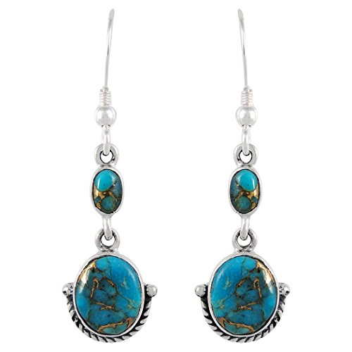Turquoise Earrings 925 Sterling Silver & Genuine Turquoise (Select Color) (Teal/Matrix Turquoise)