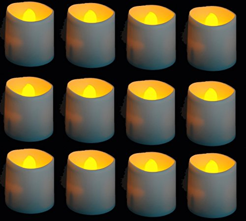 LED Tealight Candles Battery Operated Flameless Tealight Candles with Long Burn Time - 12 Pack of Votive Tealights Flameless Candles by Easy Gift Ideas