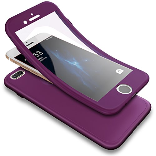 Case,iPhone 8 Plus Case, 3 in 1 Shockproof Full Body Coverage Protection Soft TPU Silicone Rubber Case with Tempered Glass Screen Protector for iPhone 7 Plus/8 Plus, Purple ()