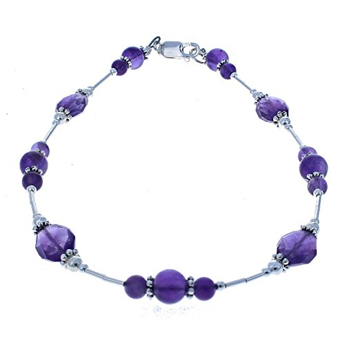 Womens Amethyst & Sterling Silver Ladies Beaded Gemstone Anklet with Daisies - (Amethyst Beaded Anklet)