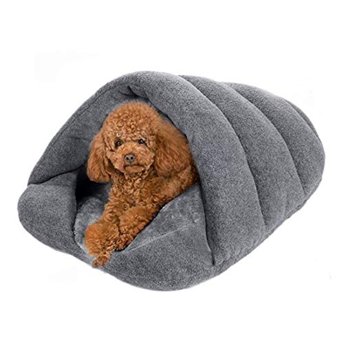 LOSOUL Dogs Sleeping Bag, Pets Cave Bed Half Covered Cuddle Cushion Kennel in Winter Warm Comfortable Pouch for Cats Rabbit Puppy,L,58x68CM (Cushion Pets Cuddle)