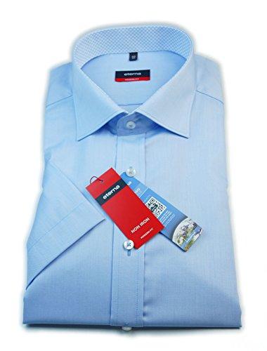 Eterna chemise à manches courtes pour homme coupe sans poche moderne bleu/bleu clair avec patch/8261.10.c167 taille 38–46