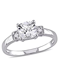 Cushion Cut Created White Sapphire 1.25 Carat (ctw) Ring with Diamonds in Sterling Silver