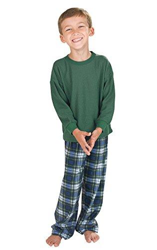 PajamaGram Big Boys Flannel Classic Plaid Pajamas with Long-Sleeved Top