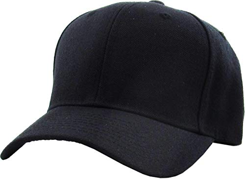 KBY-Fitted BLK (7 3/4) Premium Solid/Plain Fitted Cap Hat, Curved Bill/Brim (Black / 9 Sizes) (0.5' Cap Sht)