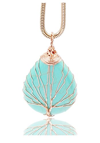 Think Positive Natural Healing Crystal Gemstones Pendant Snake Chain Necklace for Women Pink Gold (Turquoise)