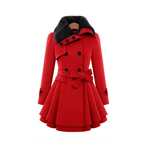 (Kimloog Women Double-Breast Warm Faux Fur Lapel Slim Trench Coat Overcoat Outwear Thicken Long Parka with Belt (M, Red))