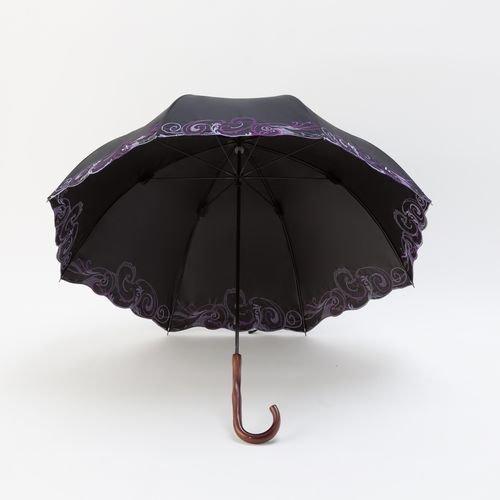 Kirakiraスワロ遮光遮熱ぺイズリー刺繍長日傘(ブラック)