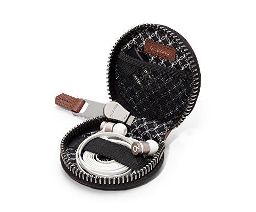 Leder Kopfhörer Etui von GILBANO. Luxus In-Ear Kopfhörer Schutzhülle. BONUS: kostenloser Flugzeug Adapter - perfekt für Vielreisende - PHILLIES (braun)