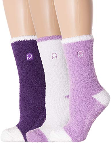 Noble Mount Women's (3 Pairs) Soft Anti-Skid Fuzzy Winter Crew Socks,Set C4 [Gift Packaged],Fit sizes 9-11