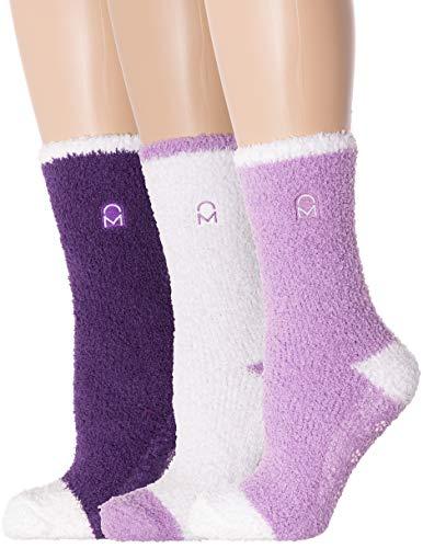 Noble Mount Women's (3 Pairs) Soft Anti-Skid Fuzzy Winter Crew Socks,Set C4 [Gift Packaged],Fit sizes 9-11 (Best Fuzzy Socks Brand)