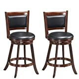 Upholstered Bar Stools with Backs COSTWAY Set of 2 Dining Chair Accent Wooden Swivel Back Bar Height Stool, Fabric Upholstered 360 Degree Swivel, PVC Cushioned Seat, Perfect for Dining and Living Room (Height 24