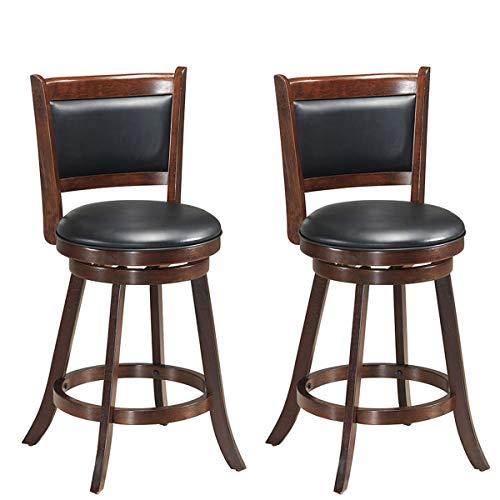 Hardwood Swivel Bar Stools - COSTWAY Set of 2 Dining Chair Accent Wooden Swivel Back Bar Height Stool, Fabric Upholstered 360 Degree Swivel, PVC Cushioned Seat, Perfect for Dining and Living Room (Height 24