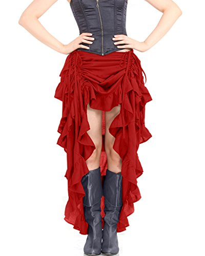 [Steampunk Victorian Gothic Womens Costume Show Girl Skirt (Red) (Large)] (Victorian Womens Costumes)