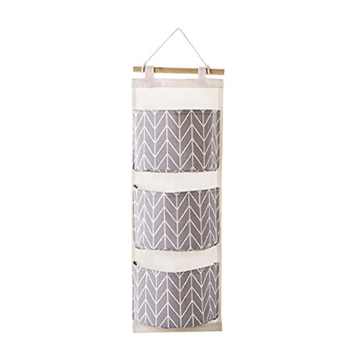 YJYdada 3 Grids Wall Hanging Storage Bag Organizer Toys Container Decor Pocket Pouch (Gray) (Table Long Extra Dining Seats 10)