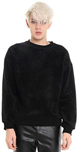 PIZOFF Hip Hop Urban Velvet Soft Warm Velour Leather Pached Drop Shoulder Sweatshirts Y1537-S
