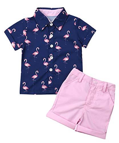 (Toddler Little Boy Kids Summer Floral Shirt Blouse Tops + Bermuda Shorts Outfit Set Clothes (Nvay Flamingo Shirt + Pink Shorts Set, 1-2T))