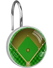 Shower Curtain Hooks Rings Baseball Field 12PCS for Hotel Bathroom Shower Rods