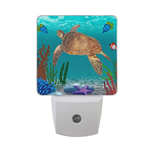 JOYPRINT Led Night Light Ocean Sea Turtle Tropical Fish Starfish, Auto Senor Dusk to Dawn Night Light Plug in for Kids Baby Girls Boys Adults Room ()