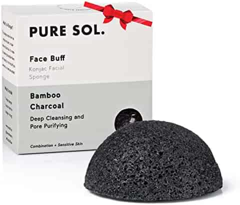 pureSOL Konjac Facial Sponge - Activated Charcoal - Great for acne - stocking stuffers