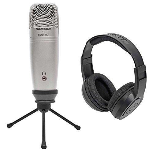 Samson C01U Pro USB Studio Condenser Microphone Mic + Tripod Stand + Headphones