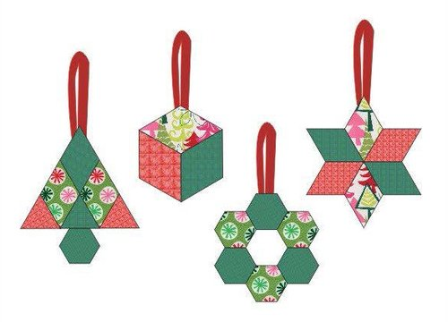 (Christmas Ornament Kit - 4 Different Pattern Pieces of Fun to Hand Sew Holiday Ornaments ? Fabrics Included -)