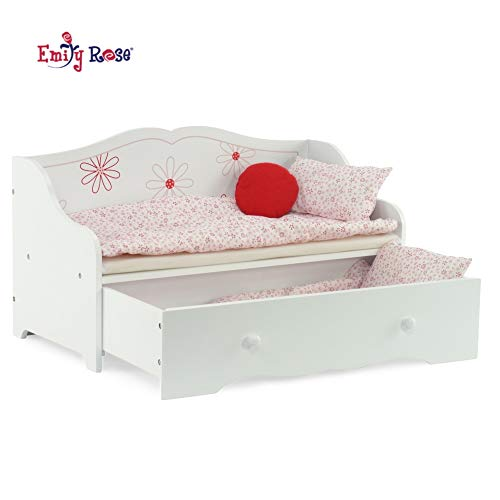 "Emily Rose 18 Inch Doll Bed | 18"" Daybed and Trundle Bed 