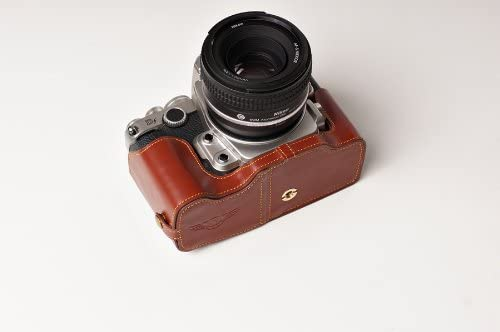 Handmade Genuine real Leather Full Camera Case bag cover for Nikon DF with 50mm Lens Brown Bottom opening Version
