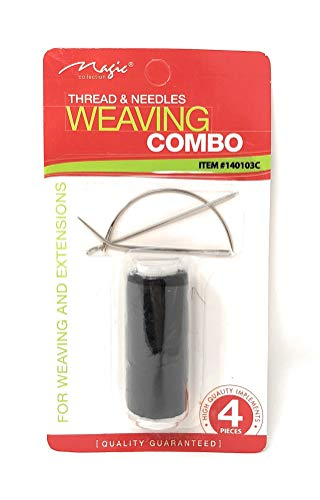 Magic Collection Weaving Combo Thread & Needles Set (1-PACK, BLACK)