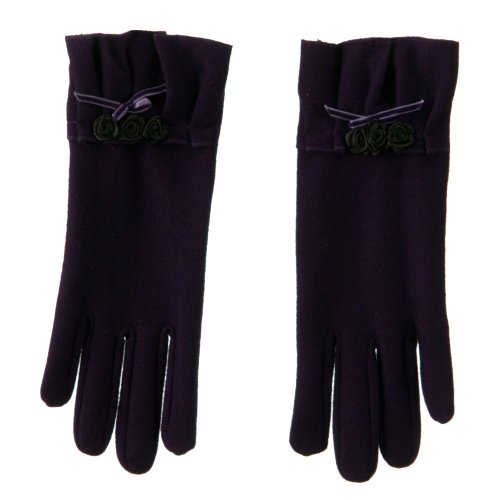 Ruffle Rose and Bow Accent Glove - Purple (Bow Accent Gloves)