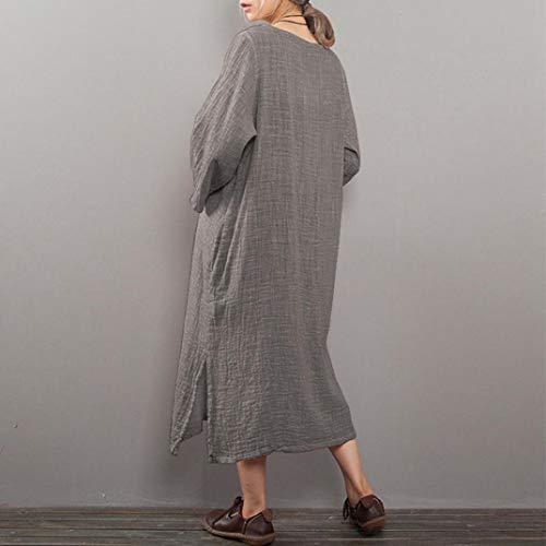 Robe Grey Grande Femme Daily Femme Cocktail Combinaison Robe Lin Lin Loose Chic Jupe Longue POTTOA Soiree Longue Casual De Boheme Femme Robe Taille Combinaison Jupe Robe Femme Longue Solide xCanqxOtf