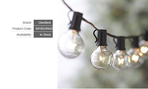 25Ft Globe String Lights with Warm G40 Bulbs-UL Listed Outdoor Hanging Light String for Backyard Garden Patio Bistro Market Cafe Umbrella Lamp Lights(Black) (Hanging Lamps Lead)