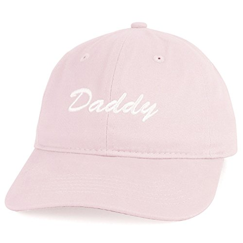 Trendy Apparel Shop Daddy Script Font Embroidered Low Profile Soft Cotton Baseball Cap - Light Pink