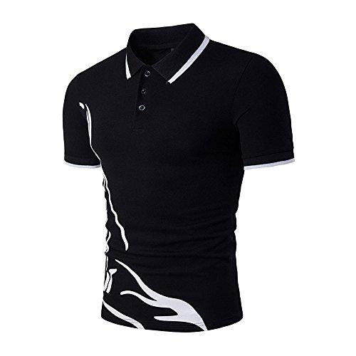 - Men's Slim Polo Sport Shirt Short Sleeve Casual Tee Cotton Pique Polo Shirt Tops (XL, Black)