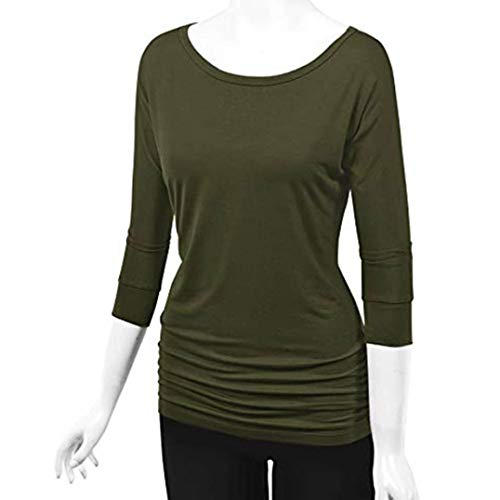 Women Olive Girls Sleeve Neck O Green Blouse Tops Petite Needra Long Shirring fold Side with Teen fBYqB6x
