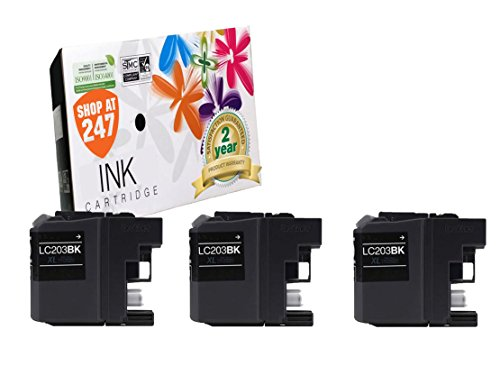 Compatible Brother LC203BK (XL Series) High Yield ink cartridges replacement for Brother MFC-J4320DW, J4420DW, J4620DW, J5520DW, J5620DW, J5720DW color inkjets printers (3 pc-Value Pack LC203 Black)