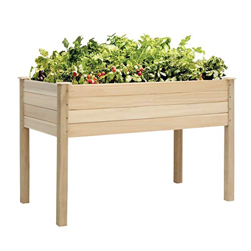 Kinbor Elevated Planter Box for Growing Herbs/Vegetables/Flowers Raised Wood Planter Garden Bed Box Stand for Deck, Patio or Yard Gardening