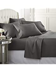 Danjor LinensQueenSize Bed Sheets Set - 1800 Series6 Piece Bedding Sheet & Pillowcases Sets w/ Deep Pockets - Fade Resistant & Machine Washable -Gray