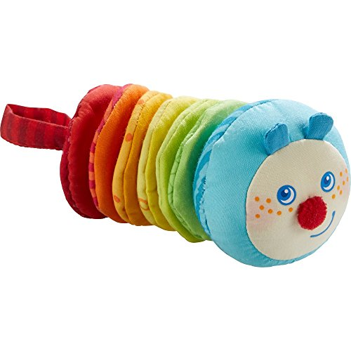 HABA Caterpillar Mina Plush Clatter Figure with Vibrating Motion and Hook & Loop Attachment - Machine Washable for 6 Months +