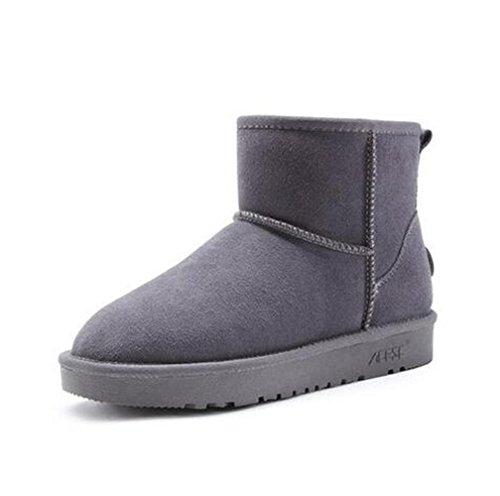 cuero café negro color caqui plana de TT aire de Botas botas de al piel gris moda de mujer amp;XUEDIXUE invierno tubo gray tacón libre de Zapatos alto corto corto de nieve 4gFxpgX