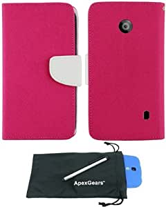 For Nokia Lumia 520 Two Tone Leather Wallet Diary Pouch Phone Cover Case with Stylus Pen and ApexGears (TM) Phone Bag (Pink White)
