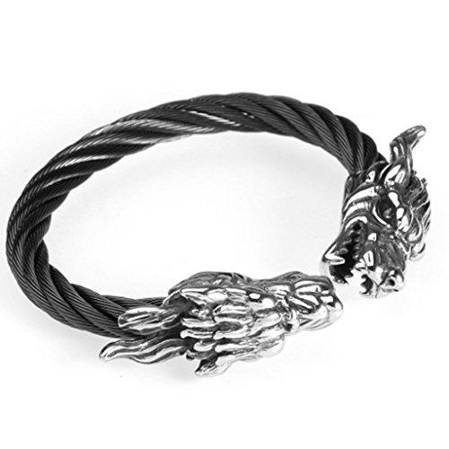 [Epinki Stainless Steel Men Bracelet Vintage Punk Rock Domineering Dragon's Head Black] (Homemade 80s Costumes For Couples)