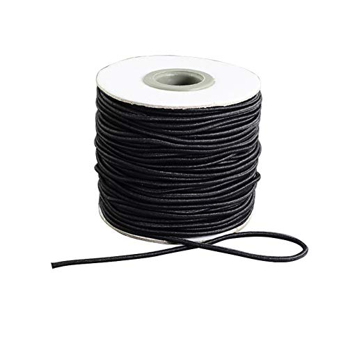 ARRICRAFT 1 Roll Black Round Elastic Cord 1.5mm Beading Threads Stretch String Fabric Crafting Cords for Jewelry Making, 45m/roll
