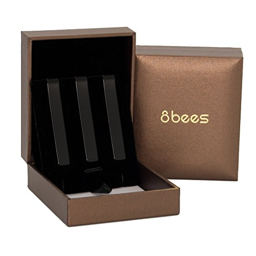 """Tie Clip Clasp Bar Pin 8BEES GIFT Metallic Finish 2.1"""" Black for Wedding Business,Pack of 3 in Gift Box"""