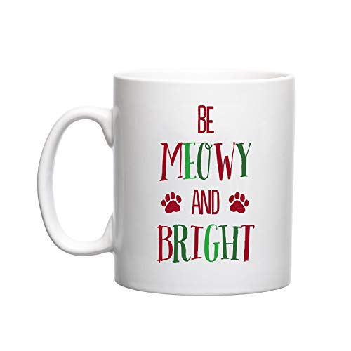 - Pearhead Pet Be Meowy & Bright Holiday Novelty Ceramic Coffee Mug for Cat or Dog Lovers, 13oz